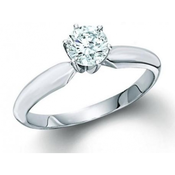 14K WG .80CT, SI2, H-I RD DIA ENGAGEMENT RING