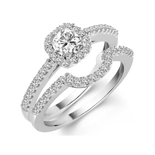 14KW 1.25 CTW (.75 CTR) DIAMOND WEDDING SET